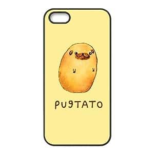 White Pugtato,TPU Phone case for iphone5 5s,black