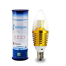 3 Pack LOHAS SWEETY STYLE 7 Watt Soft White 3000K Dimmable B35 E12 Base LED Candle Bulb,65W-70W Incandescent Replacement,360¡ãOmni-direction Candelabra 680 Lumens,3 Layers Torpedo Shape,Blunt Tip Plastic Cover,Golden Alumium Lamp Body