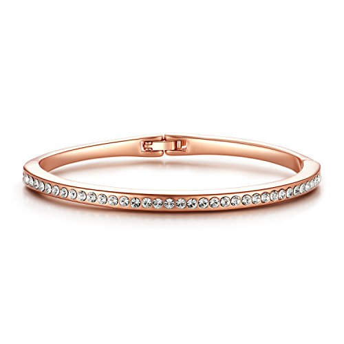 - OREOLLE Swarovski Crystals Bangle Bracelets White 14k Rose Gold Plated Oval Hinged Jewelry