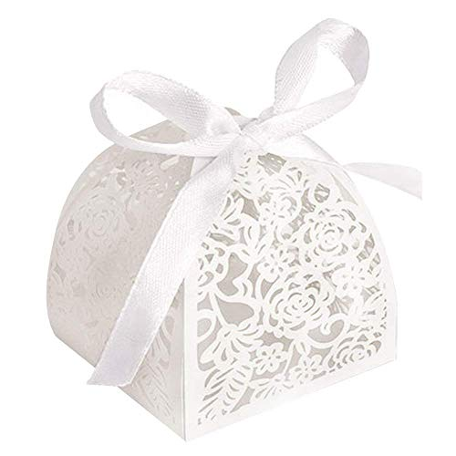 Gift Box Open (YOZATIA 50pcs Laser Cut Rose Candy Boxes, 2.6''x2.6''x2.8'' Gift Boxes for Anniverary Party Wedding Favor(White))