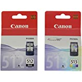 Canon PG-512 y CL-513 - Juego de cartuchos de tinta para impresora Canon Pixma de las series iP, MP y MX (2 unidades, negro y color, alta capacidad)