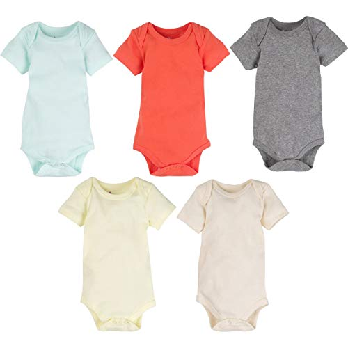 MiracleWear Cute Kid's Bodysuit Outfits (5 Pcs) Boy, Girl & Neutral Unisex Daywear Solid Color Clothing Sets (Color, 0-3 Months) -