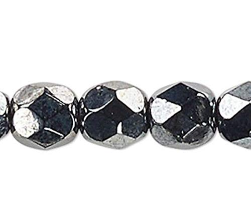 1 Strand Metallic Hematite Czech Fire Polished 4Mm Faceted Round Glass Beads ()
