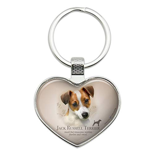 Jack Russell Terrier Dog Breed Heart Love Metal Keychain Key Chain Ring
