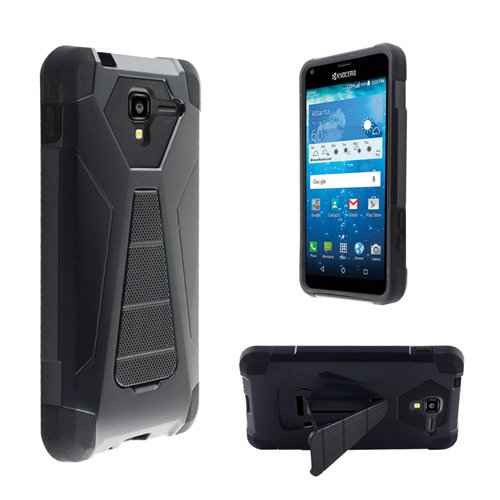 Kyocera Hydro View Phone Case , Kyocera Hydro Reach C6743 Phone Case [ Storm Buy ] Premium Hard & Soft Sturdy Durable Shockproof [ Anti Scratch ] Cover with Built in Kickstand (3D Fusion Black) -  Storm-Buy