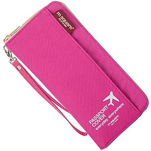 M Square Travel passport wallet holder safety documents organizer case multi-function bag for men and women Pink