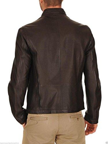 Auk041 Outwear Cappotto Moto Giacche Uomo Pelle In Slim Fit Da Black Biker Giacca 1pOgqPw