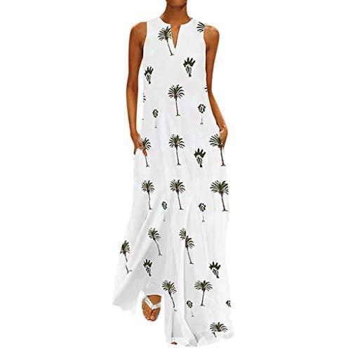 Dresses with Pockets for Women Casual Summer Hosamtel Coconut Tree Print Beach Sleeveless V-Neck Long Maxi Dress Sundress