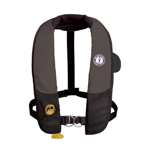 Mustang Deluxe Auto Inflator - Deluxe Auto Hydrostatic Inflatable PFD with Sailing Harness Color: Black / Carbon
