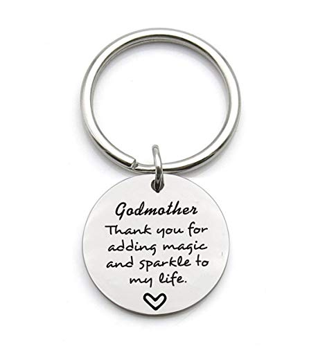 Godmother Gifts Godmother Thank You for Adding Magic and Sparkle to My Life Godmother Keychain Gift for Godmothers from Godchild