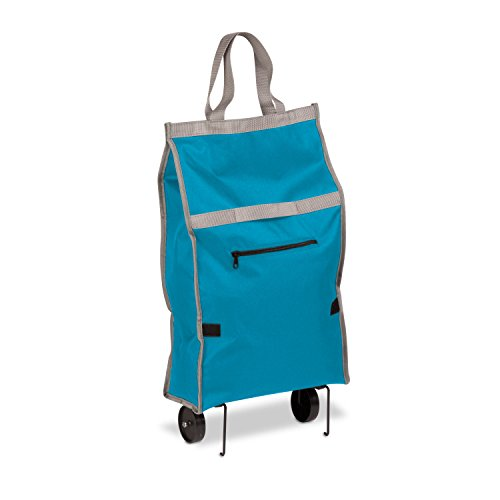 Honey-Can-Do CRT-05387 Fabric Rolling Bag Cart with Handles, Holds Up to 40-Pounds, Blue, 12.5L x 5.6W x 24.75H