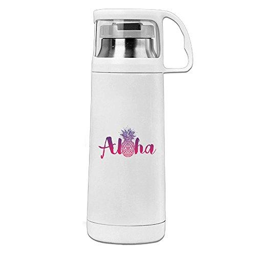 Hawaii White Mug (Karen Garden Aloha Hawaii Pineapple Stainless Steel Vacuum Insulated Water Bottle Leak Proof Handled Mug White,12oz)