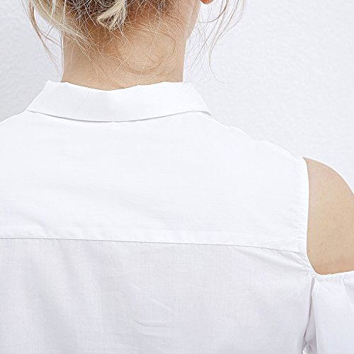 Lunghe Cotone Tinta Colore In M Maniche Dimensioni Da Bianca Donna Unita Slim Camicia A q8E4wZ8I
