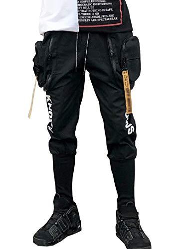 MOKEWEN Men's Double Zip Pocket Harem Ninth Pants Drawstring Elastic Waist Black 32-33 -