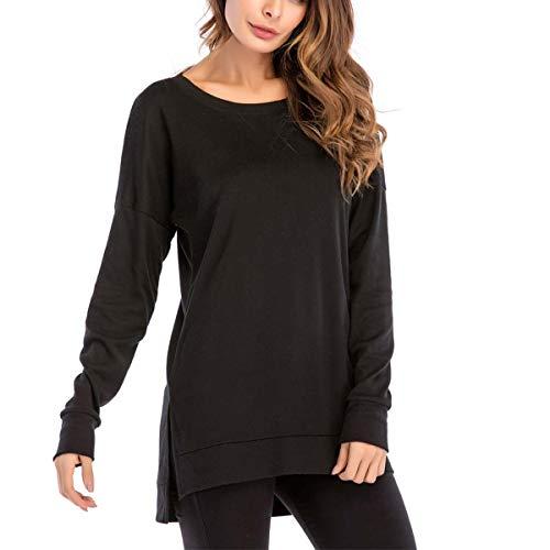Taille Femme Manche Shirt Grande T Shirt Longue Femme Casual Shirt Tee Rond Sweat Noir Col rqvtrB