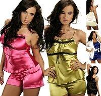 Ninex Women's Satin & Laces Cami & Short Pajama Set