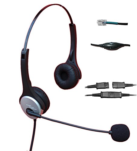 Voistek A2H20DHS Dual Ear Call Center Telephone Headset with Noise Canceling Microphone + Quick Disconnect + Volume Mute Controls for Nortel Nec Mitel Aastra Siemens GE 3Com Toshiba InterTel Sprint Talkswitch ShoreTel Iwatsu Packet8 ESI Allworx Office IP Phones (M3905 Call Center)
