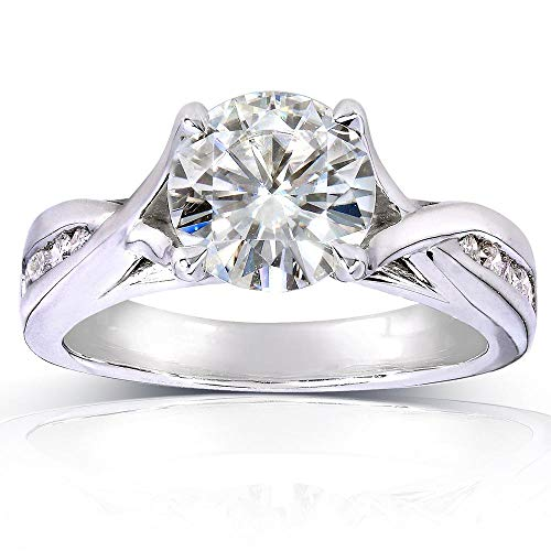 Kobelli Round-cut Moissanite Engagement Ring 1 1/5 CTW 14k White Gold, Size 7.5