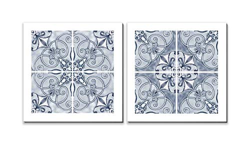 3Hdeko - Navy Blue Bathroom Wall Decor Geometric Flower Wall Art for Living Room Bedroom, Boho Floral Picture Canvas Prints, Framed(24x24inch x2pcs) (Abstract Navy Blue Art)