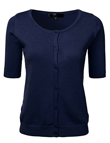 FLORIA Womens Button Down Fitted Short Sleeve Fine Knit Top Cardigan Sweater NAVY S