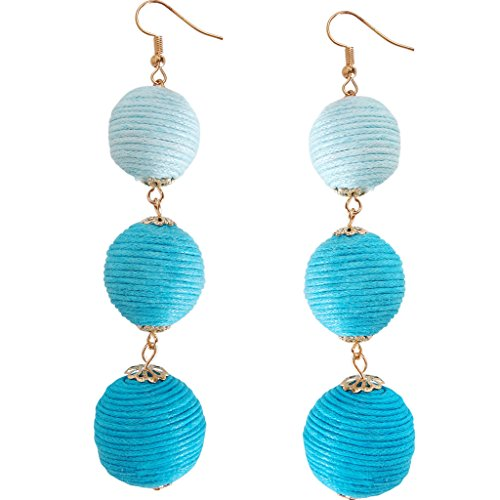 Humble Chic Ombre Beehive Dangles - Multicolor Triple Woven Long Bubble Ball Statement Earrings, Sim - Sim Costume