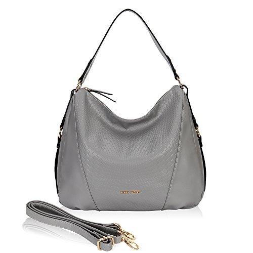 Satchel Woven Slip (Hynes Victory Woven Pattern Hobo Bag Stylish Hobo Crossbody Bag for Lady Woman Purse Grey)