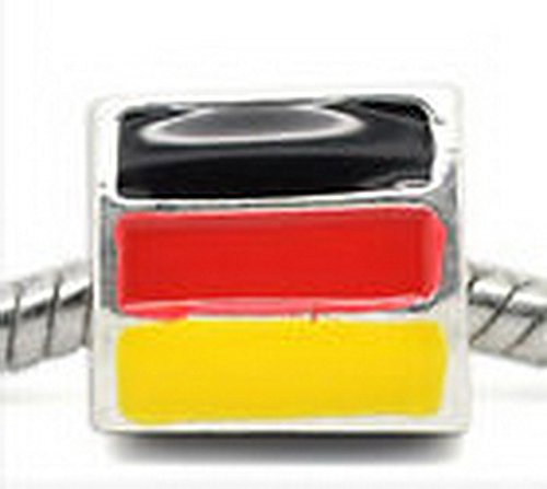 German Flag Germany Trip Enamel Bead fits Silver European Style Charm Bracelets ()