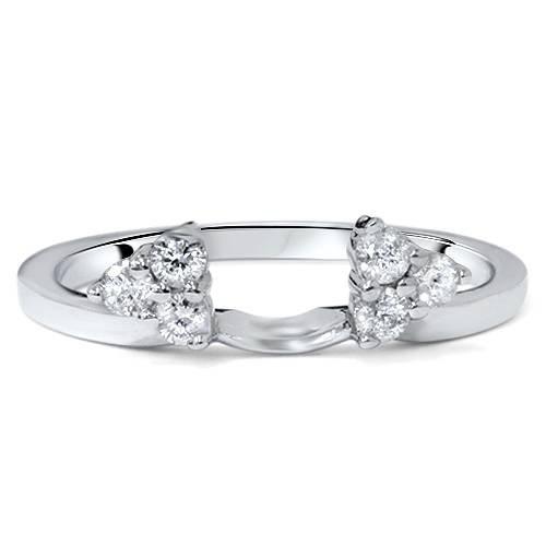 1/4ct Diamond Ring Enhancer Wedding Ring 14K White Gold - Size 8 (Marque Diamond Ring)