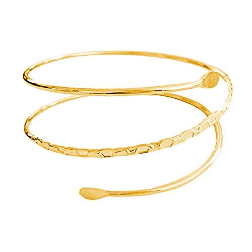 ALoveSoul Adjustable Minimalist Gold Metal Coil Upper Arm Cuff Open Arm Bracelet Armlet Armband Bangle for Women