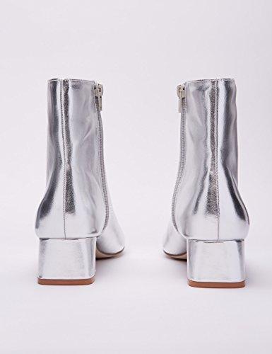 Bajo Con Y Plateado Botines silver Silver Tacón Mujer Puntera Find wq5Xx6x