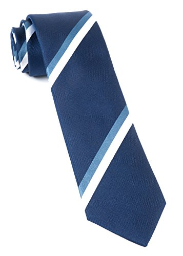 (The Tie Bar 100% Woven Silk Ad Stripe Navy Skinny Tie)