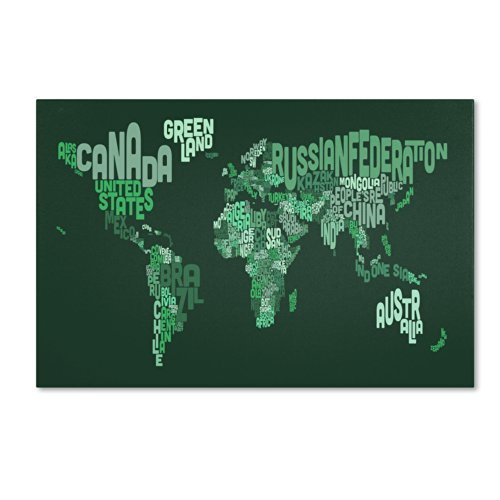 Text Map of The World Artwork by Michael Tompsett, 16 by 24-Inch Canvas Wall Art by Trademark Fine Art (Image #2)
