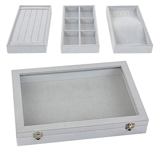 Viefin Stackable Jewelry Tray, Earring Drawer Insert Display Show Case, Dresser Organizer for Ring Stud, Necklace Holder Storage Box Chest