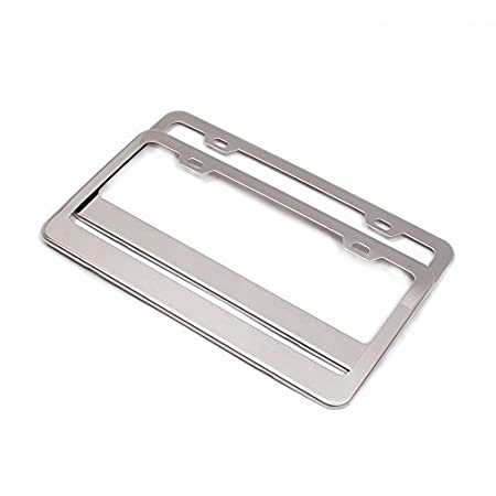 Aeroway License Plate Frame Set of 2 Polish Mirror 304-grade Stainless Steel Frames w//Stainless Steel Theft-proof Screw Caps w//Premium Gift Box