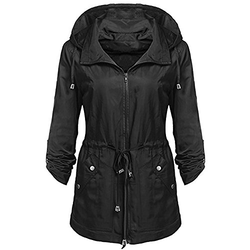 Ladies Jacket Hoodies Casual Pockets Womens Lightweight MIRRAY Outerwear Long Hooded Coats with Sleeve Loose Rain Large Outwear Size Anorak Waterproof Belted Black Solid Detachable Autumn Winter UpO5Cwq