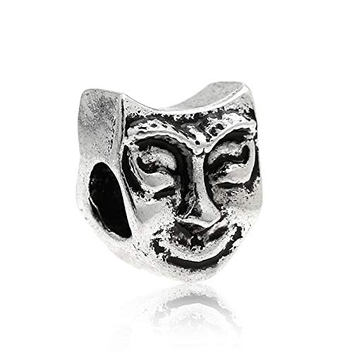 (Smiling Face Mask Masquerade Costume Spacer Charm for European Slide Bracelets Crafting Key Chain Bracelet Necklace Jewelry Accessories)