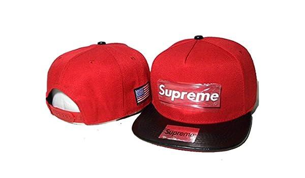 Supreme Snapback sombreros y protecciones (Rojo con logo de metal, borde negro): Amazon.es: Deportes y aire libre