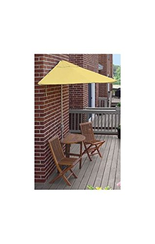 Blue Star Group Terrace Mates Caleo Premium Table Set w/ 9'-Wide OFF-THE-WALL BRELLA - Yellow Sunbrella Canopy price