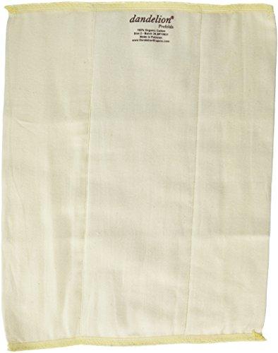 Dandelion Diapers 3 Piece Organic Cotton DSQ Prefolds, White, Size 2/Infant/12