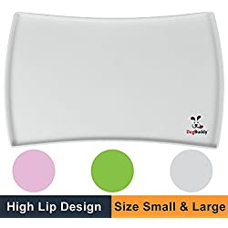 """DogBuddy NEW Dog Food Mat, Large (24""""x16""""), Non Slip Dog Food Tray, FDA Silicone Dog Placemat, Washable Pet Food Mat, Waterproof Pet Dog Feeding Mat, Dog Food Mats for Floors, Mist"""