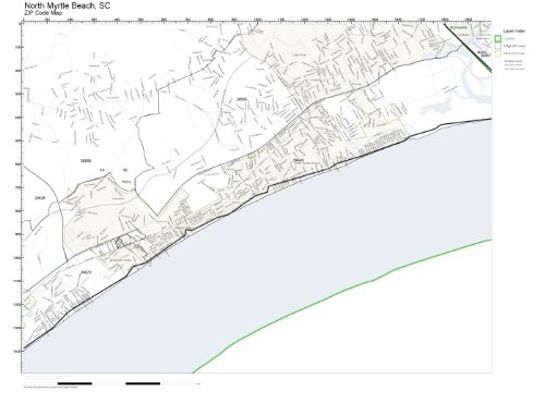 ZIP Code Wall Map of North Myrtle Beach, SC ZIP Code Map Laminated (Zip Code Map For Myrtle Beach Sc)
