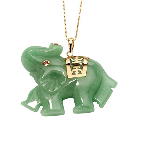 Green Jade Pink Genuine Sapphire Accent 14k Yellow Gold Lucky Elephant Charm Pendant -