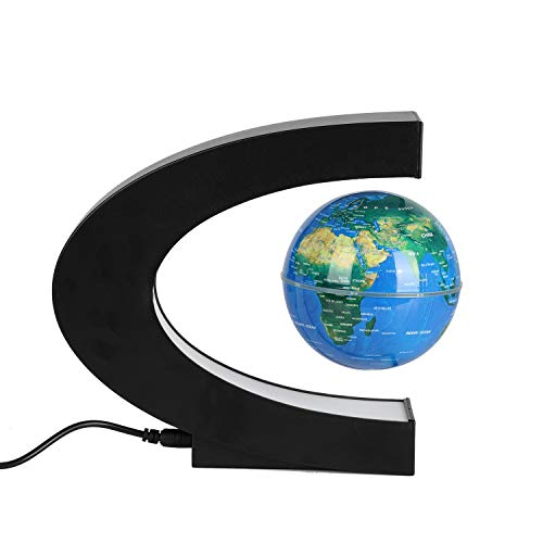 Amazing Anti Gravity Top (Glow Floating Globe Led Light, Yhouse Magnetic Levitation Rotating World Map Lamp for Home Office Desk Decoration (Color Change))