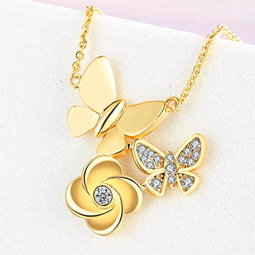 Bijou Queen 14k Gold Plated Dainty Butterfly Necklace Delicate Initial CZ Cubic Zirconia Pendant Necklaces for Women Minimalist Jewelry 18