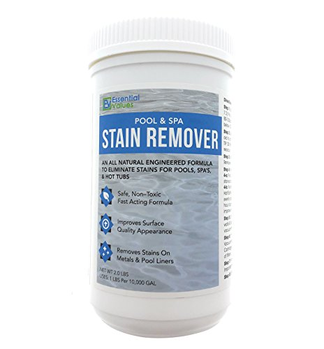 Essential Values Swimming Pool & Spa Stain Remover (2 LBS) - Natural & Safe, Works Best for Vinyl Liners, Fiberglass, Metals - Removes Rust & Other Tough Stains Without The Use of Harsh Chemicals (Vinyl Pool Stains)