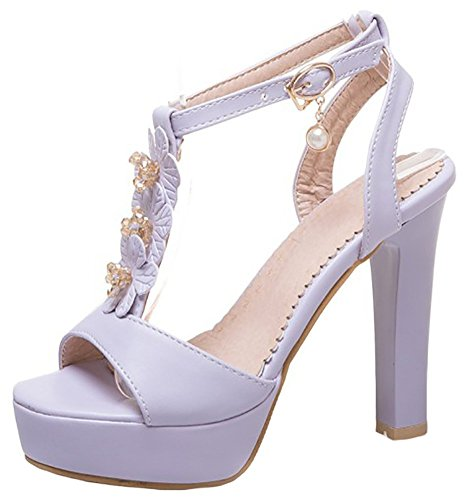 Mofri Women's Trendy Floral T Strap Open Toe Platform High Chunky Heel Pumps Sandals (Purple, 10 B(M) (Purple Open Toe Platform)