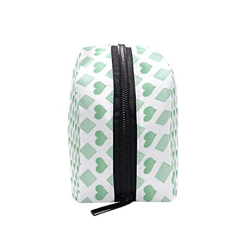 Green Love Makeup Bag Multi Compartment Pouch Storage Cosmetic Bags for Women Travel by Sunshine (Image #5)