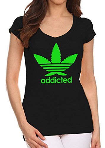 Cannabis Leaf Addicted V355 Tee Junior's Black V-Neck T-Shirt Small Black