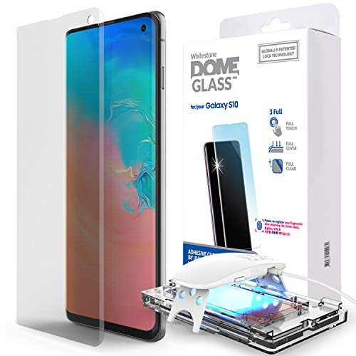 Galaxy S10 Screen Protector, [Dome Glass] Full 3D Curved Edge Tempered Glass [Exclusive Solution for Ultrasonic Fingerprint] Easy Install Kit by Whitestone for Samsung Galaxy S10 (2019) - 1 Pack ()