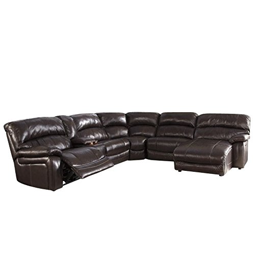 Damacio U98200-58-57-19-77-46-97 6-Piece Sectional Sofa with Left Arm Power Recliner Storage Console Armless Recliner Wedge Armless Chair and Right Arm Press Back Power Chaise in Dark (Sectional Armless Power Recliner)